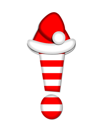exclamation point: Exclamation point, in the alphabet set Christmas Candy Cane, is red and white striped.  Letter is decorated with floppy Santa cap. Stock Photo