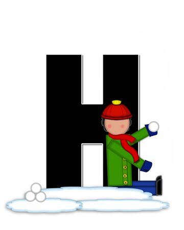 The letter H, in the alphabet set Children Snow Fight, is black and outlined with white.  Children, dressed in cap, scarf and mittens, hold snowball ready for a fight. Reklamní fotografie
