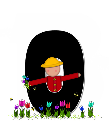 wears: The letter O, in the alphabet set Children Spring Tulips is black and trimmed with white.  Child holds bouquet of tulips and wears a straw hat.  Tulip garden grows at her feet.