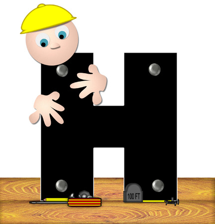 inspecting: The letter H, in the alphabet set Construction Worker, is black with silver nails embedded in letter.  Construction worker bends over inspecting letter.  Tools sit beside letter on wooden planks.
