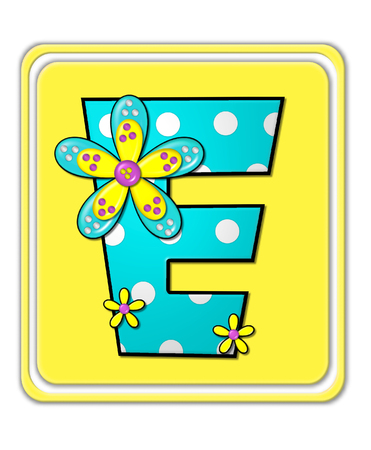 e white: The letter E, in the alphabet set Bright Begonia, is teal with white polka dots.  2D flowers decorate letter in yellow, pink and teal.  Letter sits on bright yellow square.