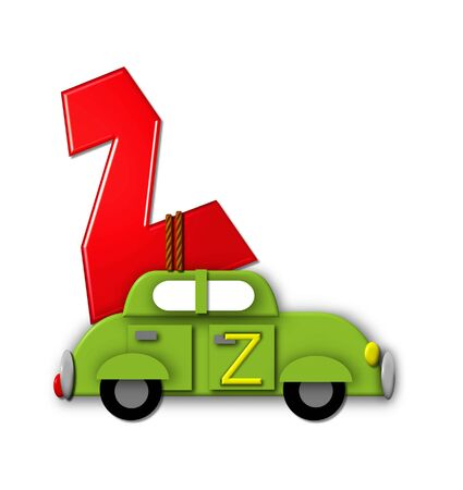 tied in: The letter Z, in the alphabet set Alphabet On the Go is tied with rope to transportation vehicles in different colors, shapes and sizes.  Letter is 3D, red and ready to GO!