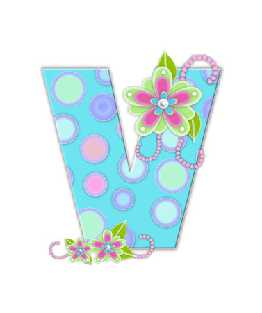 softly: The letter V, in the alphabet set Softly Spotted, is soft aqua.  Letter is decorated with pastel circles, flowers and beads. Stock Photo