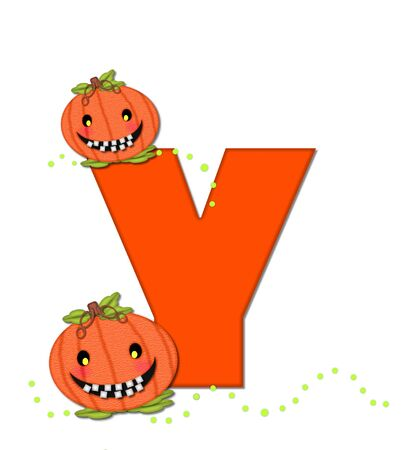 toothy: The letter Y, in the alphabet set Pumpkin Head, is bright orange. Letter is decorated with smiling, toothy pumpkins and green polka dots.