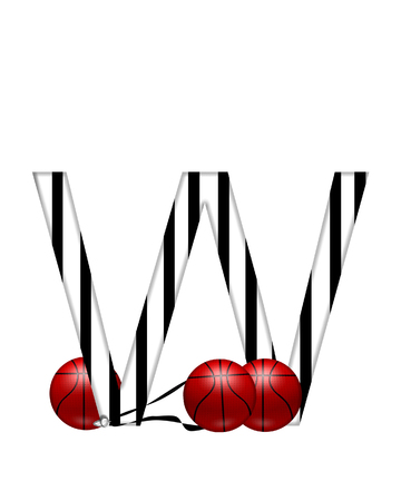 The letter W,in the alphabet set Referee, is black and white striped.  A whistle, on a black ribbon, and basketballs decorate each letter.
