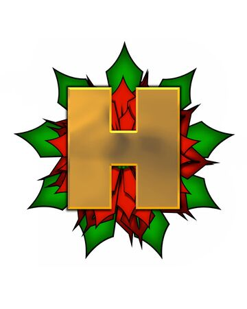 The letter H, in the alphabet set Christmas Poinsettia is shiny gold metallic.  Letter sits on a large red, poinsettia.