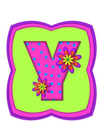 The letter Y, in the alphabet set Daisy Daze, is colored in vivid pink with teal polka dots.  It is decorated with four layered daisies.  All sit on a pillow of neon green, hot pink and purple.