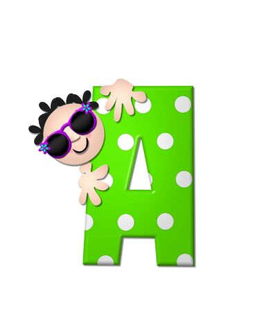 bahama: The letter A, in the alphabet set Bahama Sunny, is vivid green with large white polka dots.  Beach dude peeks his head in and around letter holding it with his hands. Stock Photo