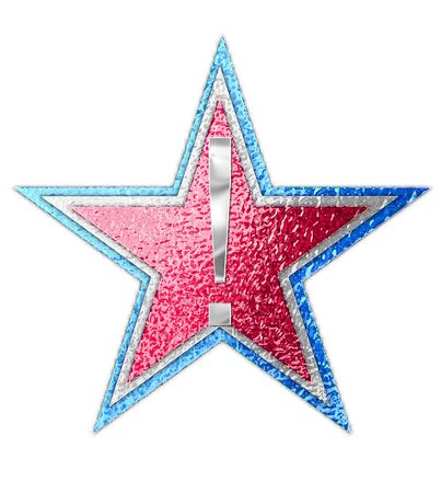 metalic: Exclamation point, in the alphabet set All Star is silver metalic.  Three stars of red, white and blue form background.
