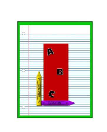 decorate notebook: The letter I, in the alphabet set Grade School Homework  is  red and and sits on background of notebook paper.  Crayons and ABCs decorate letter. Stock Photo