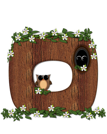 The letter O, in the alphabet set Log Home is filled with wod texture.  Flower bloom on vines hanging on letter.  One owl hides in knothole and the other outside the stump home.