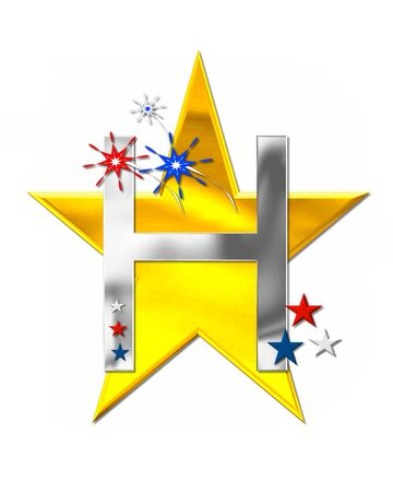 scrap gold: The letter H, in the alphabet set Patriotism is silver metalic.  Fireworks and stars decorate letter with red, white and blue.  Golden star serves as background. Stock Photo