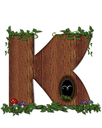 peek: The letter K, in the alphabet set Log is filled with wod texture.  Vines and colorful mushrooms grow around letter.  Some letters have knot holes with peeking eyes. Stock Photo