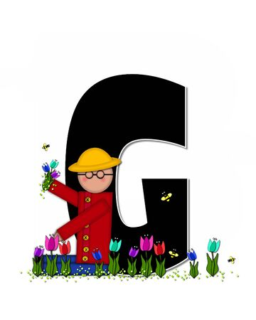 straw hat: The letter G, in the alphabet set Children Spring Tulips is black and trimmed with white.  Child holds bouquet of tulips and wears a straw hat.  Tulip garden grows at her feet.