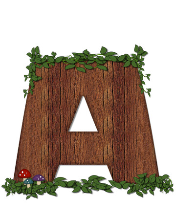 The letter A, in the alphabet set Log is filled with wod texture.  Vines and colorful mushrooms grow around letter.  Some letters have knot holes with peeking eyes.