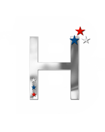 metalic: The letter H, in the alphabet set Plain Patriotism is silver metalic.  Three stars decorate letter with red, white and blue.  Letters coordinate with Alphabet Patriotism.