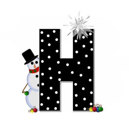 topped: The letter H, in the alphabet set Frosty, is black and decorated with a snowman and Christmas ornaments.  Snowman is wearing a red scarf and alphabet letter is topped with a glowing white star. Stock Photo