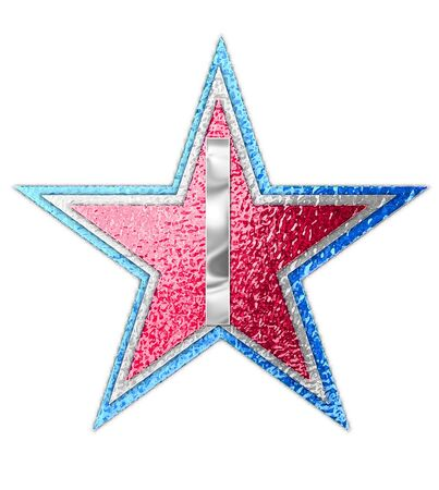 metalic: The letter I, in the alphabet set All Star is silver metalic.  Three stars of red, white and blue form background. Stock Photo