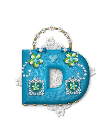 The letter D, in the alphabet set Bling Bag, depicts aqua letter as a blinged out purse with gold handle.  Letter has lace, diamonds and flowers.  Background framing letter is a lace handkerchief. Imagens