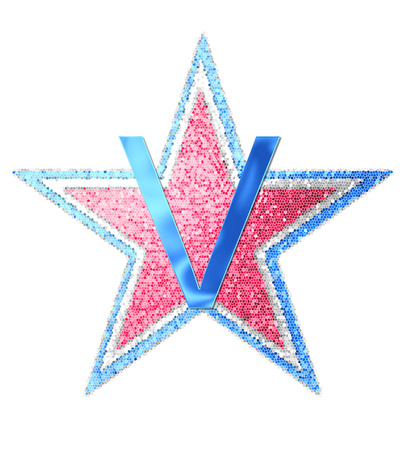The letter V, in the alphabet set Red White and Blue is blue metallic.  Letter sits on three mosaic stars of red, white and blue.