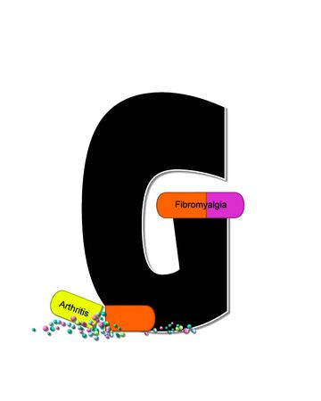 The letter G, in the alphabet set Wellness Check, is black and outlined with white.  RX capsules decorate letter with health diseases on each capsule.