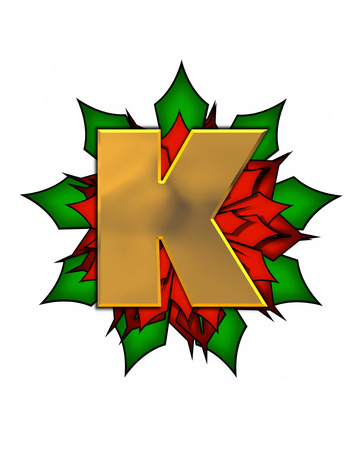 The letter K, in the alphabet set Christmas Poinsettia is shiny gold metallic.  Letter sits on a large red, poinsettia.