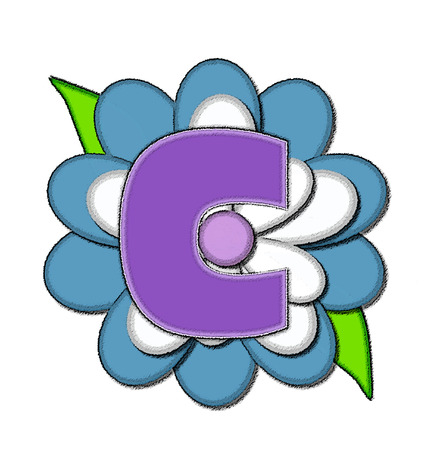 The letter C, in the alphabet set Flower Pin Blue, is purple with soft white outline.  Letter sits on large, blue and white flower.