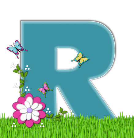 flutter: The letter R, in the alphabet set Happy Springtime, is turquoise.  Letter is sitting on bright green grass and is decorated with flower and vines.  Butterflies flutter around letter.