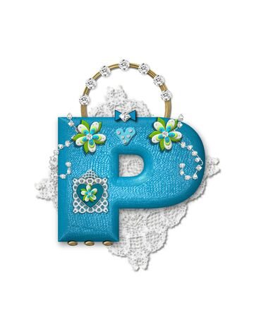 scrap gold: The letter P, in the alphabet set Bling Bag, depicts aqua letter as a blinged out purse with gold handle.  Letter has lace, diamonds and flowers.  Background framing letter is a lace handkerchief.