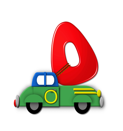 roped: The letter O, in the alphabet set Alphabet On the Go is tied with rope to transportation vehicles in different colors, shapes and sizes.  Letter is 3D, red and ready to GO! Stock Photo