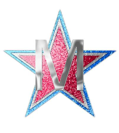 The letter M, in the alphabet set All Star is silver metalic.  Three stars of red, white and blue form background.