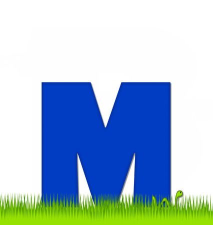 yard sign: The letter M, in the alphabet set Apple a Day Eaten Away, is blue.  Letter is sitting on green grass.  A green worm crawls around letter.