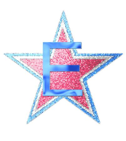 The letter E, in the alphabet set Red White and Blue is blue metallic.  Letter sits on three mosaic stars of red, white and blue.