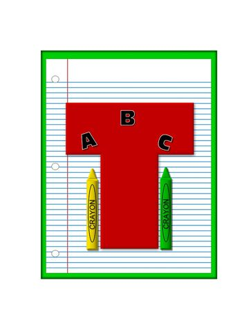 decorate notebook: The letter T, in the alphabet set Grade School Homework  is  red and and sits on background of notebook paper.  Crayons and ABCs decorate letter.