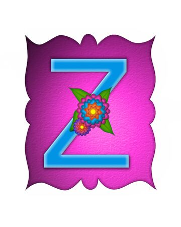 The letter Z, in the alphabet set Flower Fringe, is blue and sits on pink curvy frame.  Letter is decorated with flowers in pink, orange and blue.
