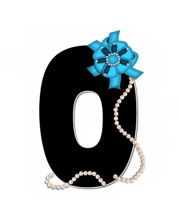 The letter O, in the alphabet set Ribbon Trimmed, is black, outlined with white.  Letter is decorated with colorful bow trimmed with pearls.  Strands of pearls fall from bow and lay at bottom of letter.