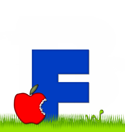 eaten: The letter F, in the alphabet set Apple a Day Eaten Away, is blue.  Letter is sitting on green grass.  A green worm crawls away after eating part of the apple.