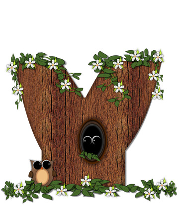 The letter Y, in the alphabet set Log Home is filled with wood texture.  Flower bloom on vines hanging on letter.  One owl hides in knothole and the other outside the stump home.