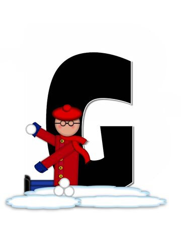 snow cap: The letter G, in the alphabet set Children Snow Fight, is black and outlined with white.  Children, dressed in cap, scarf and mittens, hold snowball ready for a fight. Stock Photo