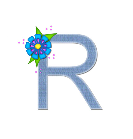 dandy: The letter R, in the alphabet set Denim Dandy, is filled with light blue denim.  Letter is decorated with bright colored flower with polka dots.