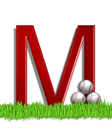 The letter M, in the alphabet set Baseball, is red.  Three baseballs decorate 3D letter.  All sit in a field of green grass.