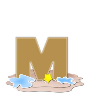 tan: The letter M, in the alphabet set Ocean Swimming is tan.  Letter sits on beach and is decorated with water, bubbles and yellow starfish.