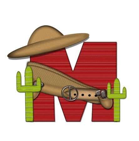 The letter M, in the alphabet set Bandido, is a red lined, tight woven pattern.  Letter is wearing a gun belt and blanket with a somberro on top.  Two cacti sit at each side. Stock Photo
