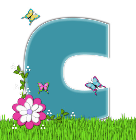 flutter: The letter C, in the alphabet set Happy Springtime, is turquoise.  Letter is sitting on bright green grass and is decorated with flower and vines.  Butterflies flutter around letter.
