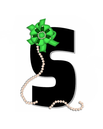 The letter S, in the alphabet set Ribbon Trimmed, is black, outlined with white.  Letter is decorated with colorful bow trimmed with pearls.  Strands of pearls fall from bow and lay at bottom of letter. Stock Photo