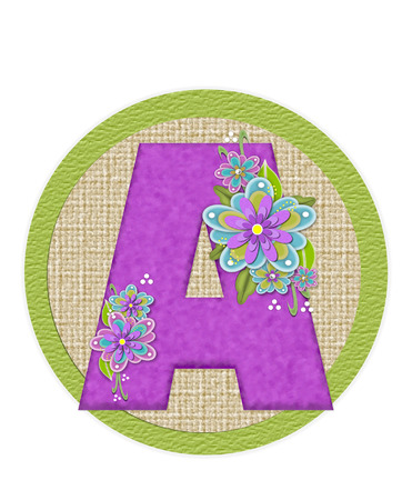 The letter A, in the alphabet set Backyard Bouquet, is lilac and decorated with layered flowers in blue and lilac.  Background circle has woven texture and outlined in green.