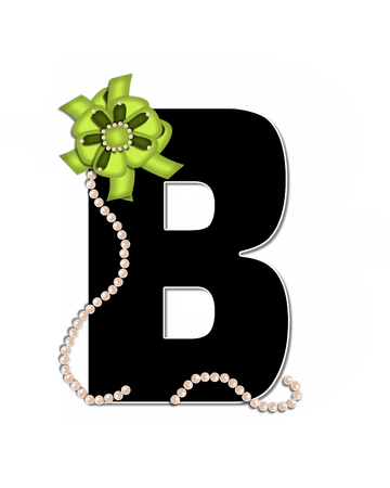 The letter B, in the alphabet set Ribbon Trimmed, is black, outlined with white.  Letter is decorated with colorful bow trimmed with pearls.  Strands of pearls fall from bow and lay at bottom of letter.