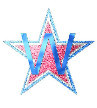 The letter W, in the alphabet set Red White and Blue is blue metallic.  Letter sits on three mosaic stars of red, white and blue.