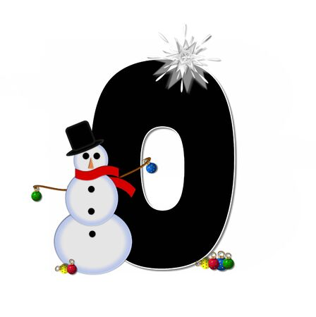 topped: The letter O, in the alphabet set Frosty, is black and decorated with a snowman and Christmas ornaments.  Snowman is wearing a red scarf and alphabet letter is topped with a glowing white star.