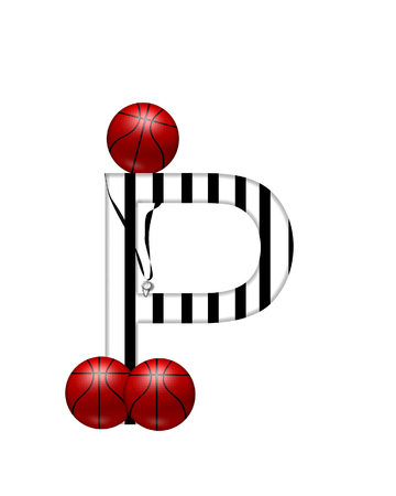 The letter P,in the alphabet set Referee, is black and white striped.  A whistle, on a black ribbon, and basketballs decorate each letter.